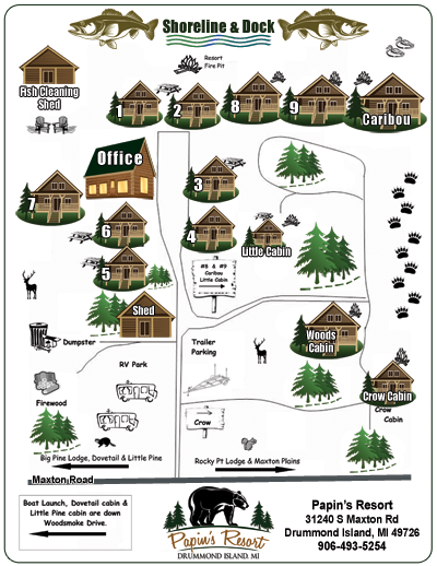 Papins Resort Map Layout:  Fish Cleaning Shed, Office, Log Cabin Rentals, RV Camping, Fishing