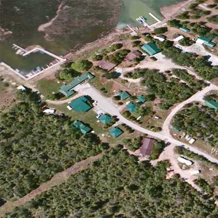 Aerial view of Drummond Island and Papin's Resort